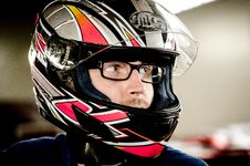 Free Man In Glasses Wearing Crash Helmet Stock Photography - 82987002