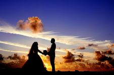 Free Silhouette Of Wedding Couple Holding Hands Under Cloudy Blue Sky Royalty Free Stock Image - 82987116
