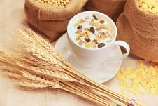 Free Cup Of Coffee Decorated With Cereal Royalty Free Stock Image - 82987576