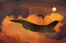 Free Silhouette Of Fighter Plane Flying Through Clouds Royalty Free Stock Image - 82988356