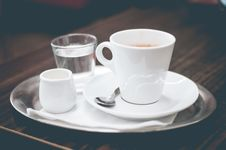 Free Coffee, Cream And Water On Silver Tray Stock Photo - 82988770