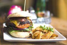 Free Hamburger On Plate Stock Photos - 82988843
