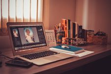 Free Computer On Desk Inside Home Stock Photography - 82989552