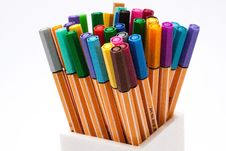 Free Colored Pens On Case Stock Photos - 82990043