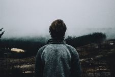 Free Man In Foggy Landscape Royalty Free Stock Images - 82990219