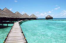 Free Wooden Boardwalk And Bungalows, Tahiti Stock Photo - 82991120