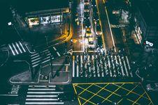Free Aerial View Of Bunch Of People Walking On White Pedestrian Lane During Night Royalty Free Stock Photos - 82991178