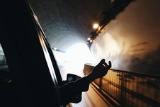 Free Hand Outside Car In Tunnel Royalty Free Stock Image - 82991246