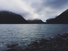 Free Cloudy Skies Over Alpine Lake Stock Images - 82991304
