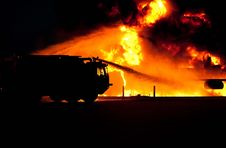 Free Firetruck Spraying Water On Fire Stock Photos - 82992483
