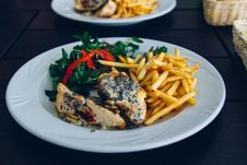 Free Chicken And Chips Plate Stock Image - 82994461