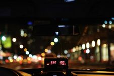 Free Meter Of Taxi Cab Driving Through City Royalty Free Stock Image - 82994656