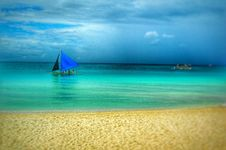 Free Painting Of Blue Boat On Beach Stock Image - 82994991