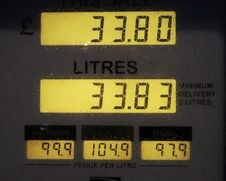 Free Gas Pump Showing 33.80 Litres Stock Images - 82995424
