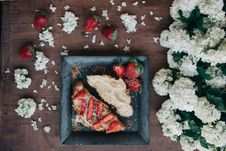 Free Strawberry Bread And Flowers Stock Image - 82997211