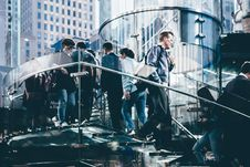 Free People Walking Up And Down The Staircase In The City In Tilt Shift Lens Stock Images - 82998104