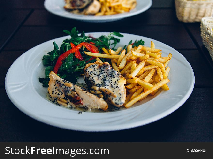 Chicken and chips plate