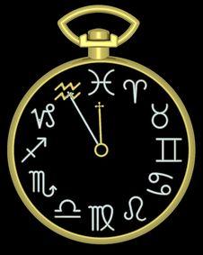 Free Zodiac Aquarius Clock Royalty Free Stock Photography - 832107