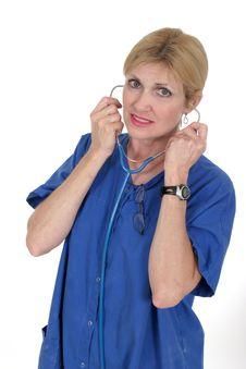 Free Doctor Or Nurse Putting On Stethoscope 15 Stock Photo - 836480