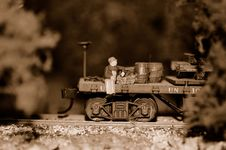 Work Train Flat Car, Miniature Royalty Free Stock Photography