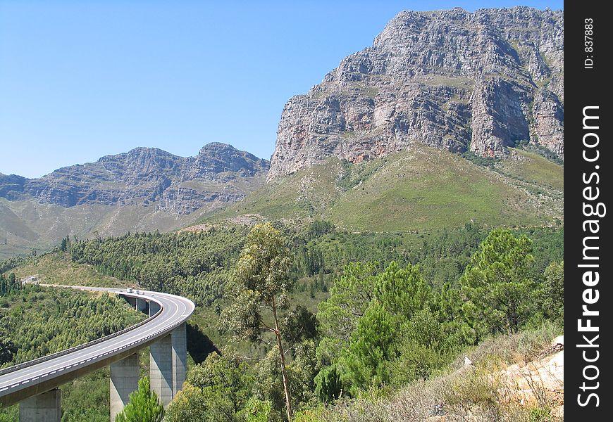 Bridge leading to mountain pass