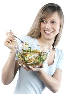 Free Woman Eating Salad Royalty Free Stock Images - 8300029