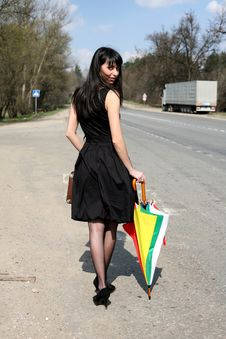 Free Girl In Road Royalty Free Stock Photography - 8300037