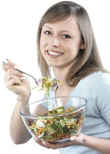 Free Woman Eating Salad Royalty Free Stock Photo - 8300045
