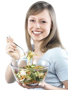 Free Woman Eating Salad Stock Photos - 8300073