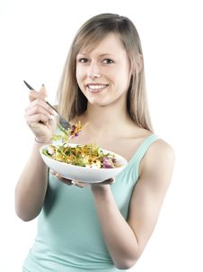 Free Woman Eating Salad Stock Photo - 8300100