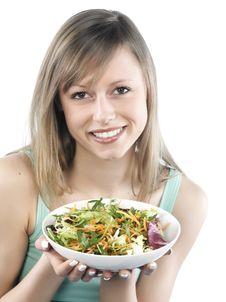Free Woman Eating Salad Stock Photos - 8300213