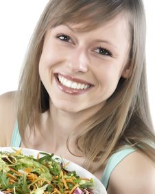 Free Woman Eating Salad Stock Image - 8300221