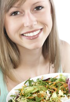Free Woman Eating Salad Stock Photo - 8300240