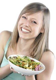 Free Woman Eating Salad Stock Photo - 8300250