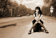 Free Girl In The Road Stock Photography - 8300352