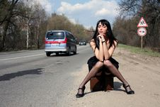 Free Girl In The Road Stock Photography - 8300382
