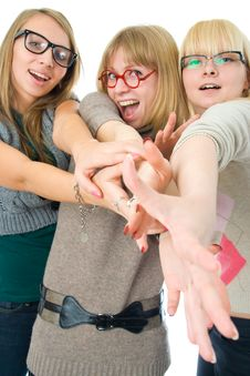 Three Attractive Girls Stock Photos
