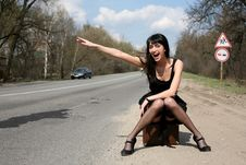 Free Girl In The Road Stock Image - 8300701