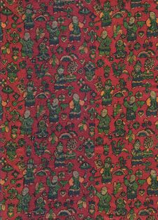 Free Chinese Fabric Sample In Red And Colors. Stock Photography - 8301422
