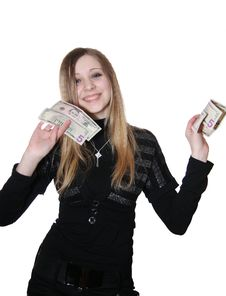 Free The Girl And Money Royalty Free Stock Images - 8302039