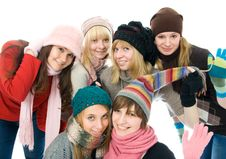 Free Six Attractive Girls Royalty Free Stock Image - 8302256