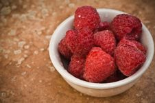 Free Raspberries In A Bowl Stock Image - 8302491