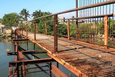 Free Old Rusty Iron Bridge Over A River Royalty Free Stock Image - 8302646