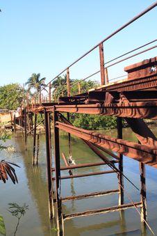 Free Old Rusty Iron Bridge, Vertical View Stock Image - 8302801