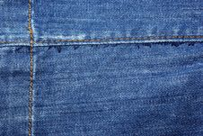 Free Blue Jeans With Yellow Stitches. Royalty Free Stock Image - 8303096