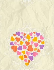 Free Greetings Card With Pink Heart, Vector Royalty Free Stock Image - 8303376