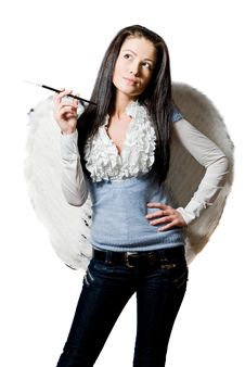 Free Angel With Cigarette Stock Photo - 8304690