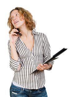 Free Young Businesswoman  With  Folder And Mobile Stock Images - 8304784