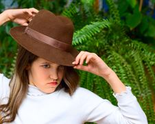 Angry Teen Girl In Hat Royalty Free Stock Images