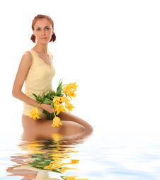Young Female In Water Royalty Free Stock Photo